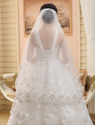 Wedding Veil One-tier Cathedral Veils Cut Edge / Lace Applique Edge Tulle Beige Beige
