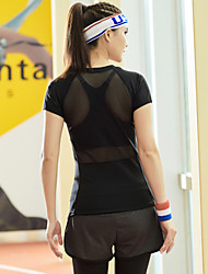 Бег Футболка / Верхняя часть Жен. Короткие рукава Быстровысыхающий Тактель Йога / Фитнес / Гонки / Бег Спорт Спортивная одежда