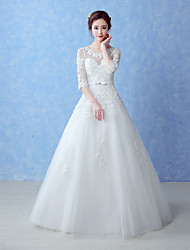 A-line Wedding Dress Floor-length Jewel Tulle with Beading