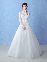 A-line Wedding Dress-Ivory Floor-length Jewel Tulle