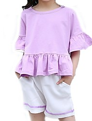 Girl's Purple / Red Clothing Set,Ruffle Cotton Summer