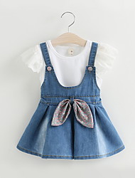 BK  2PCS Girls White Tee T-shirt+ Denim Bow Strap Dress Two-piece 2016 Summer Kids' Clothing Set