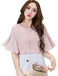 Women's Solid Blue / Pink / White / Black Blouse,Round Neck ½ Length Sleeve