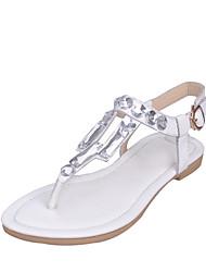 Черный / Белый-Женская обувь-Для праздника / Для вечеринки / ужина-Кожа-На плоской подошве-Босоножки / С открытым носком / С Т-образной