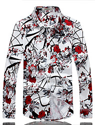 Men's Fashion Flower Print Slim Fit Long Sleeve Shirt, Cotton / Nylon/ Casual / Plus Sizes /Print