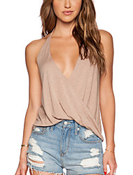 Damen Solide Sexy / Einfach Arbeit T-shirt,V-Ausschnitt Sommer Ärmellos Schwarz / Braun Modal / Polyester Undurchsichtig