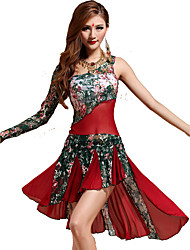 Belly Dance Dresses Women's Training Lace Lace 2 Pieces Green / Orange / Red Belly Dance Sleeveless Natural Dress / Shorts