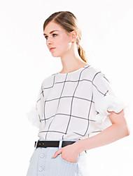 Goelia® Women's Grid Printed Ruffles Sleeve Shirt & Blouse (Beige)-163F3B02A