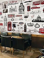 rétro effet cuir shinny grand papier peint murale londres art décoration murale papier peint de fond peint à la main