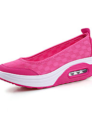 Damen Loafers & Slip-Ons Komfort Leinwand PU Frühling Sommer Outddor Büro Lässig Keilabsatz Schwarz Grau Fuchsia Flach