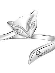 Sterling Silver Ring Fox Silver Plated Ring Adjustable Fashion Jewelry for Women Wedding Party Engagement Ring