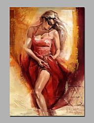 Pintada a mano Personas / DesnudoModern Un Panel Lienzos Pintura al óleo pintada a colgar For Decoración hogareña