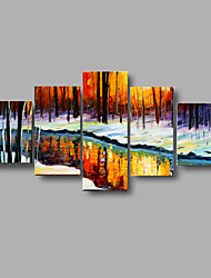 Hand-painted Textured Stream water Landscape Oil Paintings Palette Picture Stretched Frame