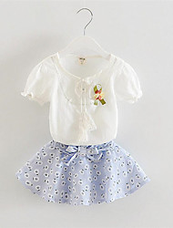 Girl's Blue / Pink Clothing Set,Floral / Bow Cotton Summer