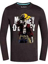 Inspiré par One Piece Monkey D. Luffy Anime Costumes de cosplay Tops Cosplay / Bas Imprimé Noir Manche Longues Top