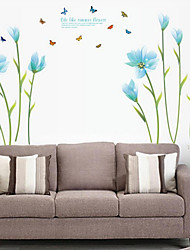 Wall Stickers Wall Decals, Beautiful Blue Lilies PVC Wall Sticker