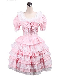 One-Piece/Dress Sweet Lolita Lolita Cosplay Lolita Dress Pink Solid Short Sleeve Short Length Dress For Women Cotton