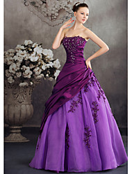 Ball Gown Strapless Floor Length Taffeta Evening Dress with Beading