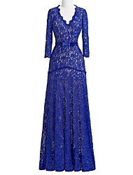 Sheath/Column Mother of the Bride Dress-Royal Blue Floor-length Lace