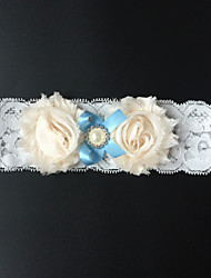 Garter Stretch Satin Flower / Rhinestone White / Blue / Almond
