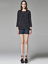 ZigZag® Women's Round Neck Long Sleeve Shirt & Blouse White / Navy / Burgundy / Taupe - 11443