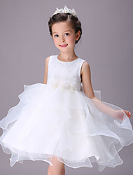 A-line Knee-length Flower Girl Dress - Cotton / Organza / Satin Sleeveless Jewel with