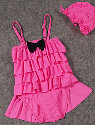 Girl's Pink / Red Clothing Set / Swimwear,Ruffle Polyester Summer