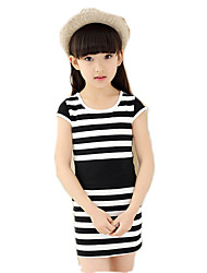 Girl's Cotton Summer Zebra Stripes Waisted Dress