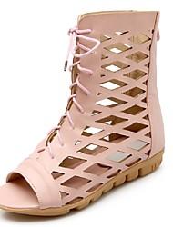 Zapatos de mujer-Plataforma-Punta Abierta / Plataforma / Gladiador-Sandalias-Oficina y Trabajo / Vestido / Casual-Semicuero-Marrón / Rosa