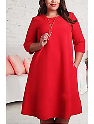 Women's Casual/Daily / Plus Size Simple Loose Dress,Solid Round Neck Midi ½ Length Sleeve Red / Green Polyester Summer