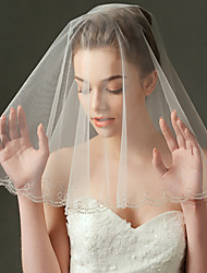 Wedding Veil One-tier Elbow Veils Beaded Edge