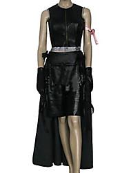 Inspirado por Final Fantasy Tifa Lockhart Vídeo Jogo Fantasias de Cosplay Ternos de Cosplay Cor Única Preto Sem Mangas Top / Saia / Shorts