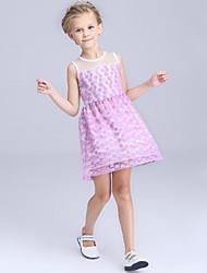 Girl's Purple / White Dress Polyester Summer