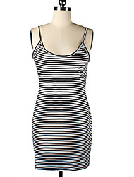 Women's Fine Stripe Sexy Beach Casual Party Straps Backless Mini Dress