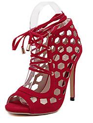 Damen-Sandalen-Lässig-Vlies-Stöckelabsatz-Sandalen-Rot