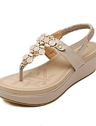 Women's Shoes PU Wedge Heel Wedges Sandals Outdoor / Casual Black / Almond
