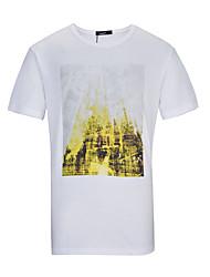Lesmart Hombre Escote Redondo Manga Corta Camiseta Blanco-TKS1604