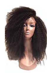 130 densidade do cabelo virgem do laço afro Kinky mongol frente perucas glueless laço do cabelo humano completo afro crespo peruca