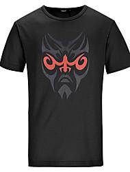 Lesmart Hombre Escote Redondo Manga Corta Camiseta Negro / Verde / Azul Real-TSS16103