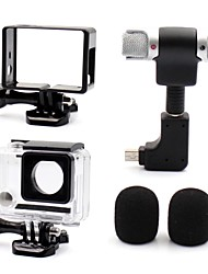 Accessories For GoPro,Smooth Frame Protective Case Microphone Mini Style All in One Convenient Dust Proof, For-Action Camera,Gopro Hero 3