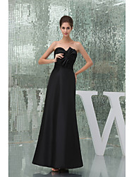 Floor-length Taffeta Bridesmaid Dress-Black A-line Sweetheart