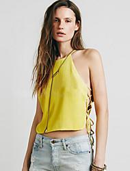 Women's Solid White / Yellow T-shirt,Halter Sleeveless