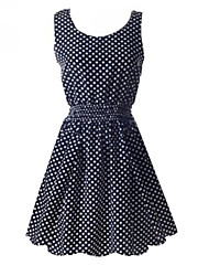 ZAY Women's Casual Round Sleeveless Above Knee Dress(with Dot)