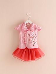 BK   (2 PCS) Girls Short-sleeved Cheongsam Tee T-shirt+Chiffon Skirt Two-piece Kids Girl's Clothing Set