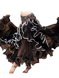 Belly Dance Bottoms Women's Performance Chiffon Ruffles 1 Piece Black / Red / Royal Blue / White / Yellow