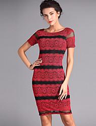 Baoyan® Women's Round Neck Short Sleeve Above Knee Dress-150355