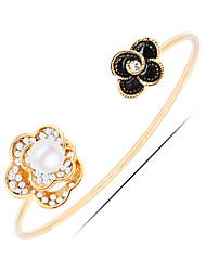 Casual Gold Plated / Silver Plated / Rhinestone / Imitation Pearl Cuff Bracelet