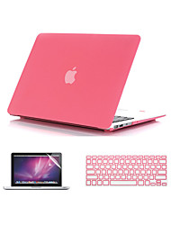 "Case for Macbook Air 11.6""/13.3"" Solid Color ABS Material 3 in 1 Quicksand Matte Full Body Case with Keyboard Cover and Screen Protector"