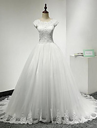 A-line Wedding Dress Chapel Train Jewel Lace / Tulle with Appliques / Lace
