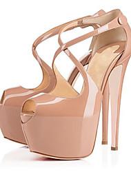 Chaussures Femme-Mariage / Bureau & Travail / Soirée & Evénement-Noir / Amande-Talon Aiguille-Talons-Talons-Cuir Verni / Similicuir